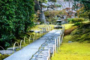 Chemin pavé de pierres naturelles et de pierres taillées